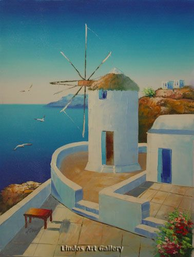 Greek Windmill Seaview Oil Painting Greek Scene