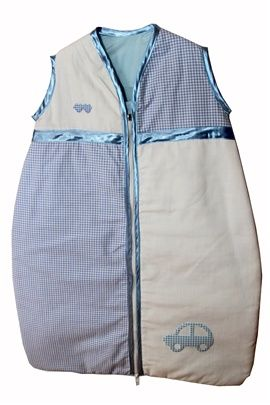 orgeous blue gingham with little gingham car baby sleeping bag. Sizes 0-36 months. Satin trim to arms, neck and zip edge. Two layers of soft cotton with cosy inner batting. Central zip from bottom to top for ease of changing.