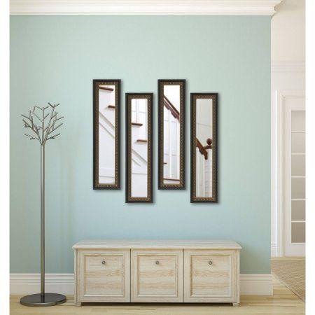 Rayne Traditional Cameo Bronze Mirror Panel, Set of 4