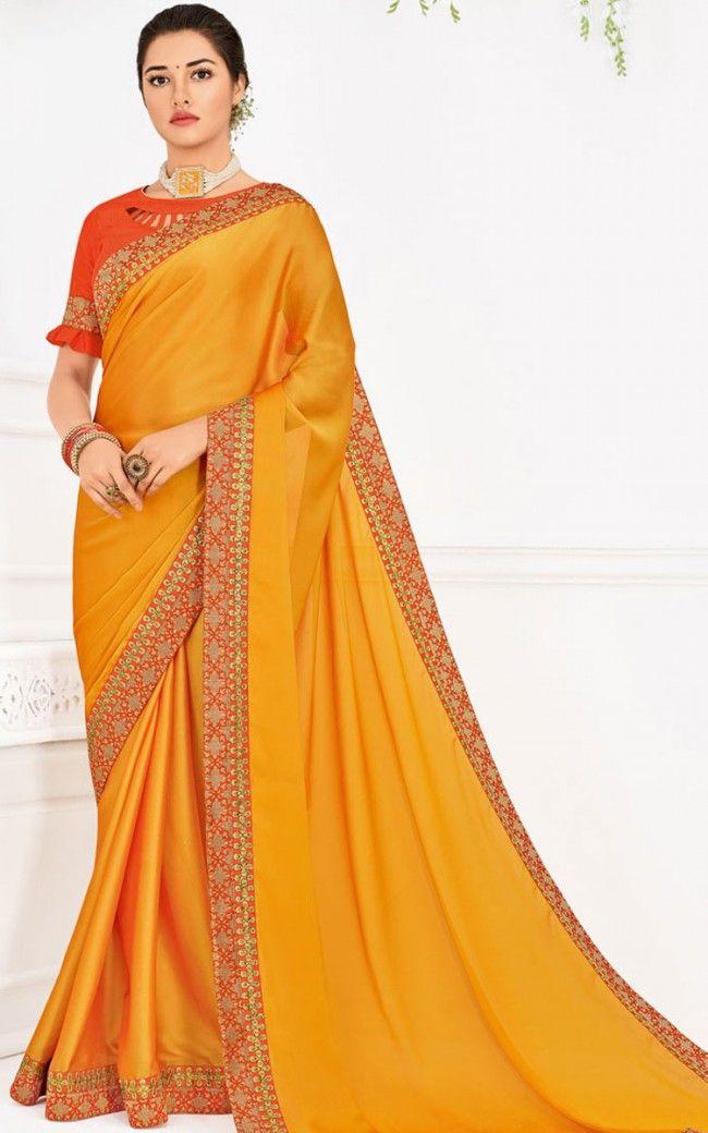 69e55e5a570b76 Orange Embroidered Georgette Saree | saree | Saree, Georgette sarees ...
