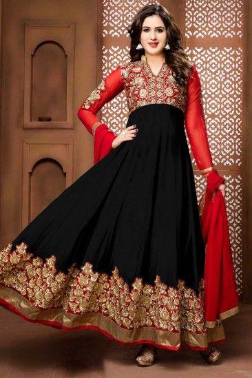 Red And Black Georgette Anarkali Churidar Suit With Dupatta - DMV14263
