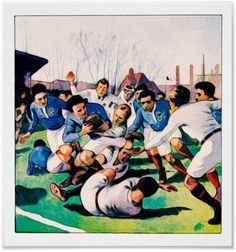 Vintage Rugby Watercolour Print. 1921 England vs France rugby international. Based on an illustration by A Gallard. Reproduced on Archival Heavyweight Paper http://www.zazzle.com/vintage_rugby_watercolour_print-228040223072636015 #rugby #art #watercolour #watercolor #vintage #FrenchRugby #EnglishRugby