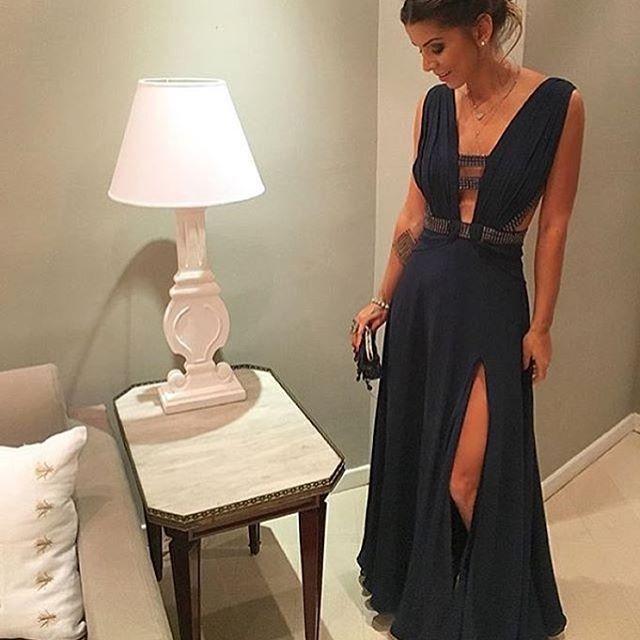 Dark-Navy Beading Deep-v-neck Floor-length Split-Front Chiffon 2017 Evening Dress