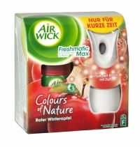 Air Wick Freshmatic Max Complete Winter Apple Air Wick Freshmatic puts you in control ensuring your home always smells fresh & welcoming. Simply set the intensity control to match the needs of your home and Air Wick Freshmatic will automatically release bursts of fresh fragrance. Contains foreign text