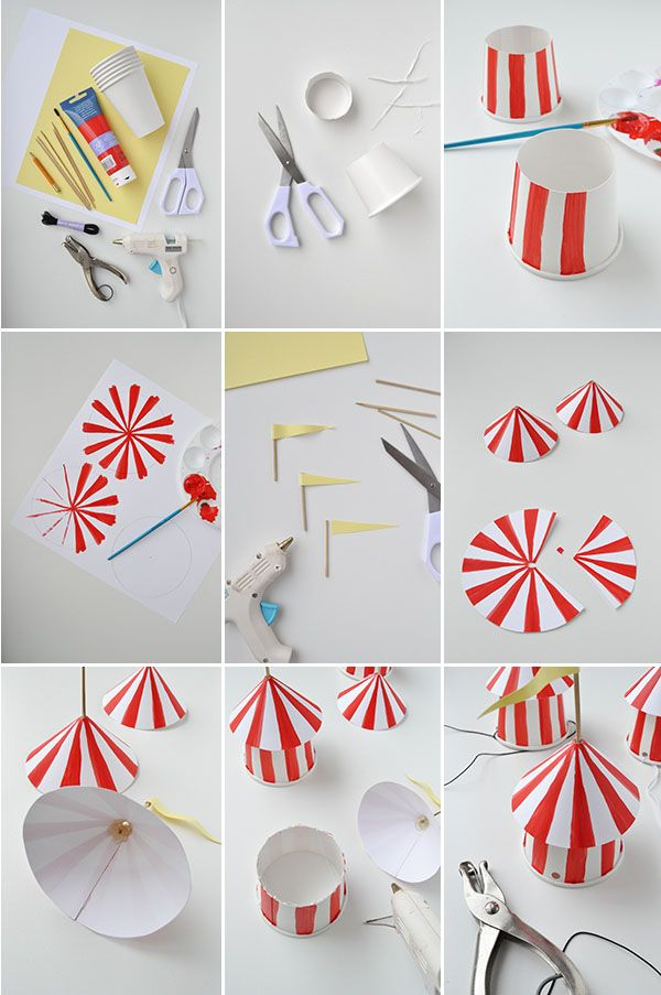 DIY: Partyhüte zum Karneval, rot und weiß >> DIY Circus Party Hats | Oh Happy Day!.  Love em'!