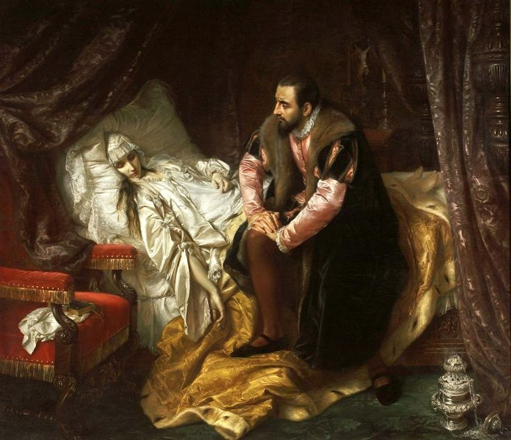 """Józef Simmler - """"The Death of Barbara Radziwiłł', 1860, oil on canvas, Dimensions:205 × 234 cm (80.7 × 92.1 in), National Museum in Warsaw.      Wikiwand"""