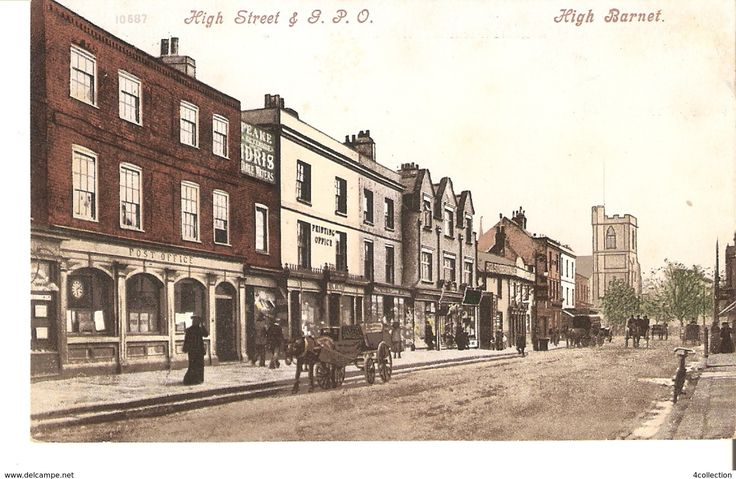 Antique UK Hertfordshire postcard High Street & GPO High Barnet 1900s stemped BREFKORT unposted