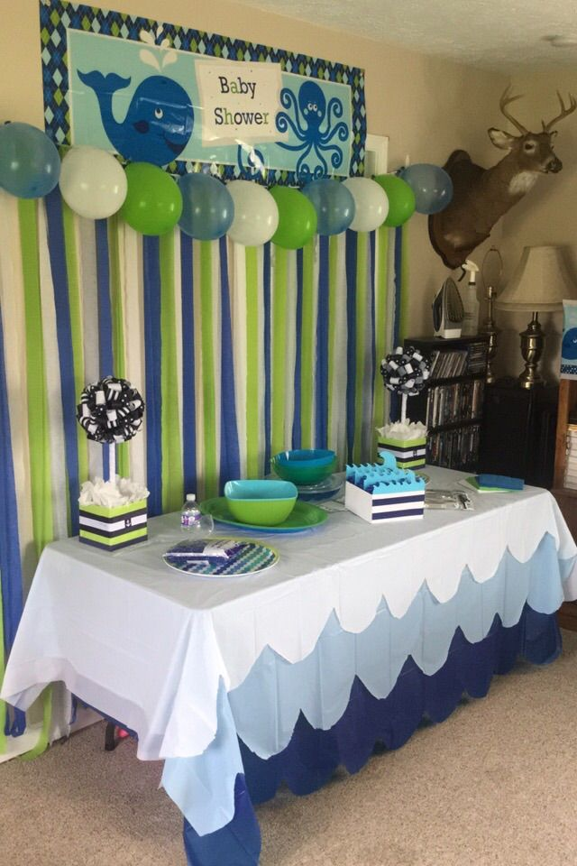 My sisters baby shower whale baby shower pinterest for Baby shower decoration stores