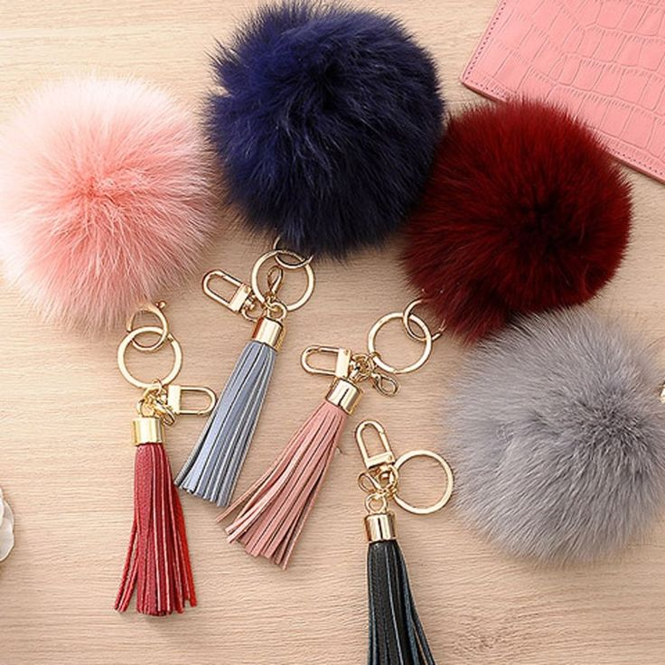 Fox Fur PomPom Ball Leather Tassel Fringe Charm Key Ring Chain Holder Accessory  #Jacc