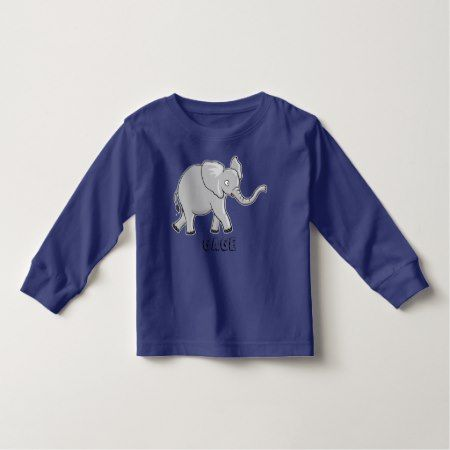 Cute Cartoon Elephant Wildlife Animal Toddler T-shirt - tap to personalize and get yours