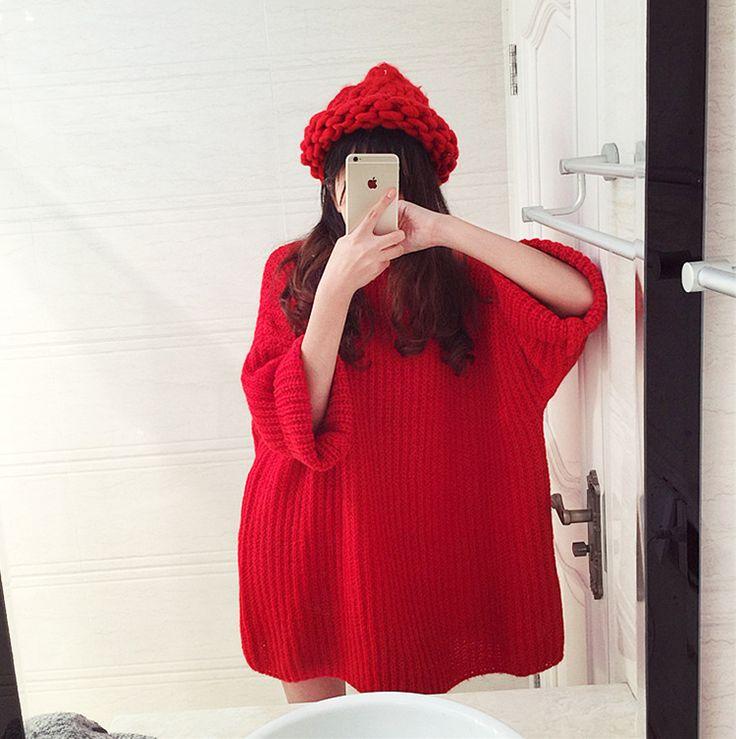 Свитер Осень зима свитера женщины тянуть femme трикотажные три четверти рукав о образным вырезом с длинным пуловер 2016 Свободные Бесплатная Доставка купить на AliExpress