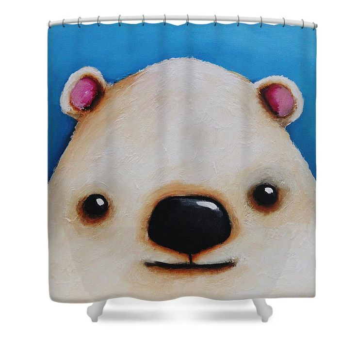 Whimsical bear painting shower curtain featuring the painting the