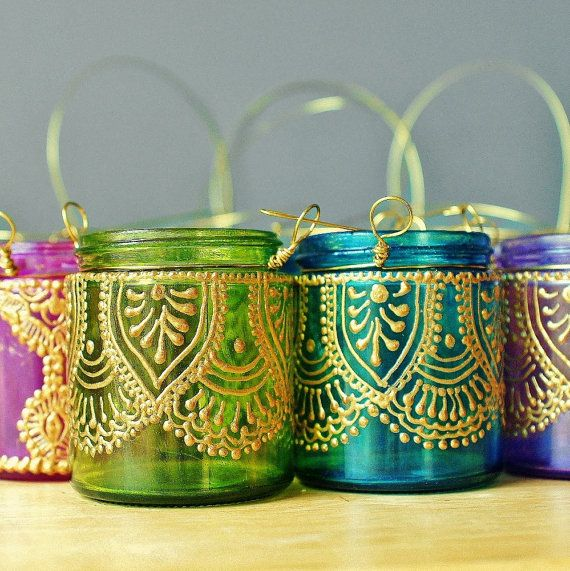 Set of Four Moroccan Lantern Votive Holders- In Fuschia, Purple, Turquoise, and Green Glass with Golden Details