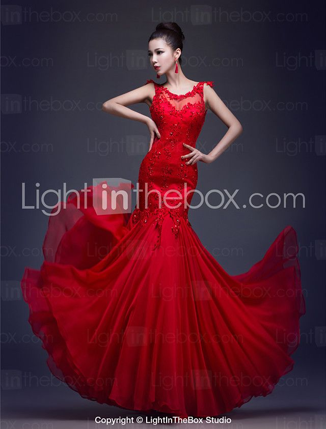 Formal Evening Dress Trumpet / Mermaid Scoop Floor-length Chiffon / Lace with Appliques / Beading 2016 - $67.49