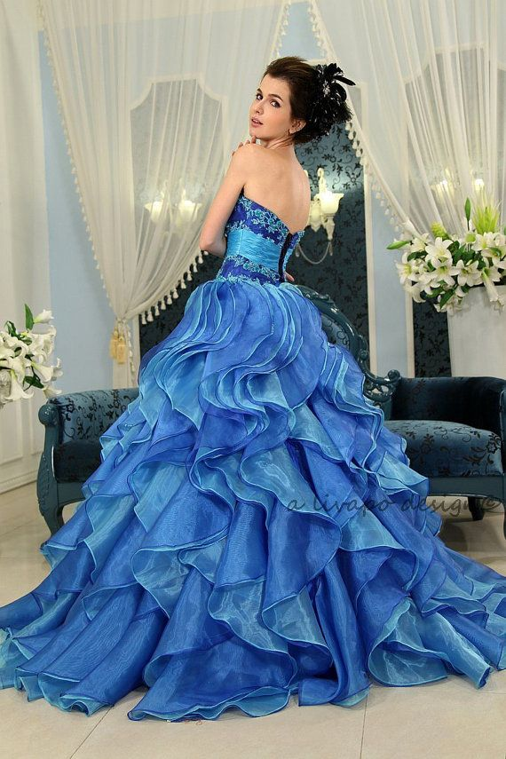 Strapless Sapphire Blue Organza Ruffled Ball Gown Prom by livapo