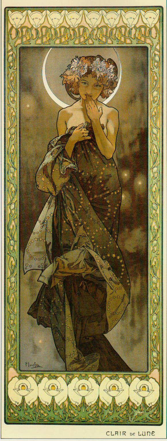 Alphonse Alfons Mucha Art Nouveau The Moon Miniature Picture Print & FREE Gift