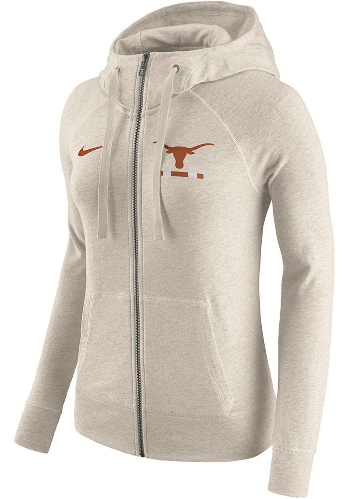 c92321f15148 Nike Texas Longhorns Womens Oatmeal Gym Vintage Long Sleeve Full Zip Jacket