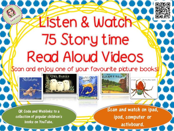 75 Read Aloud Picture book video cards for your reading corner.  Boost your classroom library with 75 popular books to read on the ipad, ipod or active board. Scan (or click) the cards and enjoy a popular children's books on YouTube. Children from Pre-K- 5th grade will enjoy these wonderful stories.