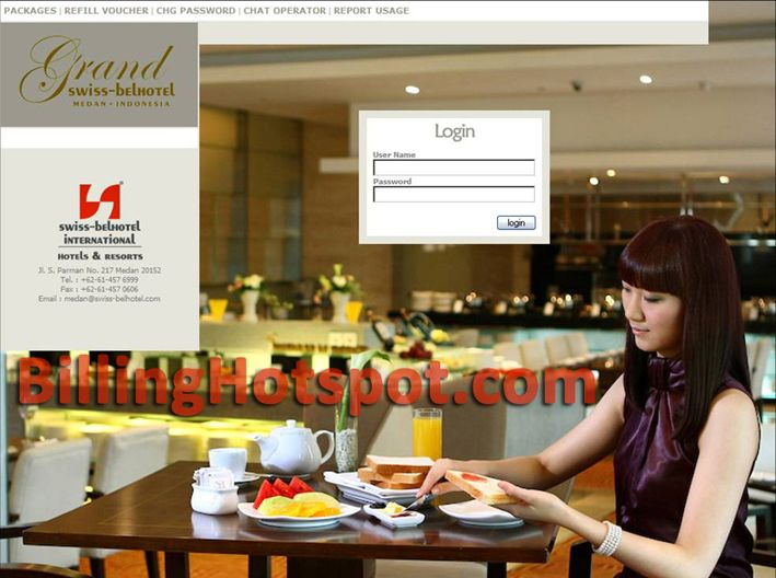 Tampilan halaman loginpage hotspot pada software Billing Hotspot untuk Swiss-Bell Hotel di Medan