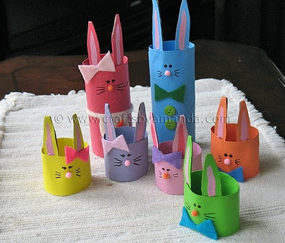 Ahh bunnies! They're so cute, and cuddly, and colorful… ? Well, these are anyway! It doesn't have to be Easter to make some cute bunnies, but their pretty colors remind me of jelly beans! Using cardboard tubes from paper towels or bathroom tissue, you can make this fun and bright family of bunny rabbits with your kids!
