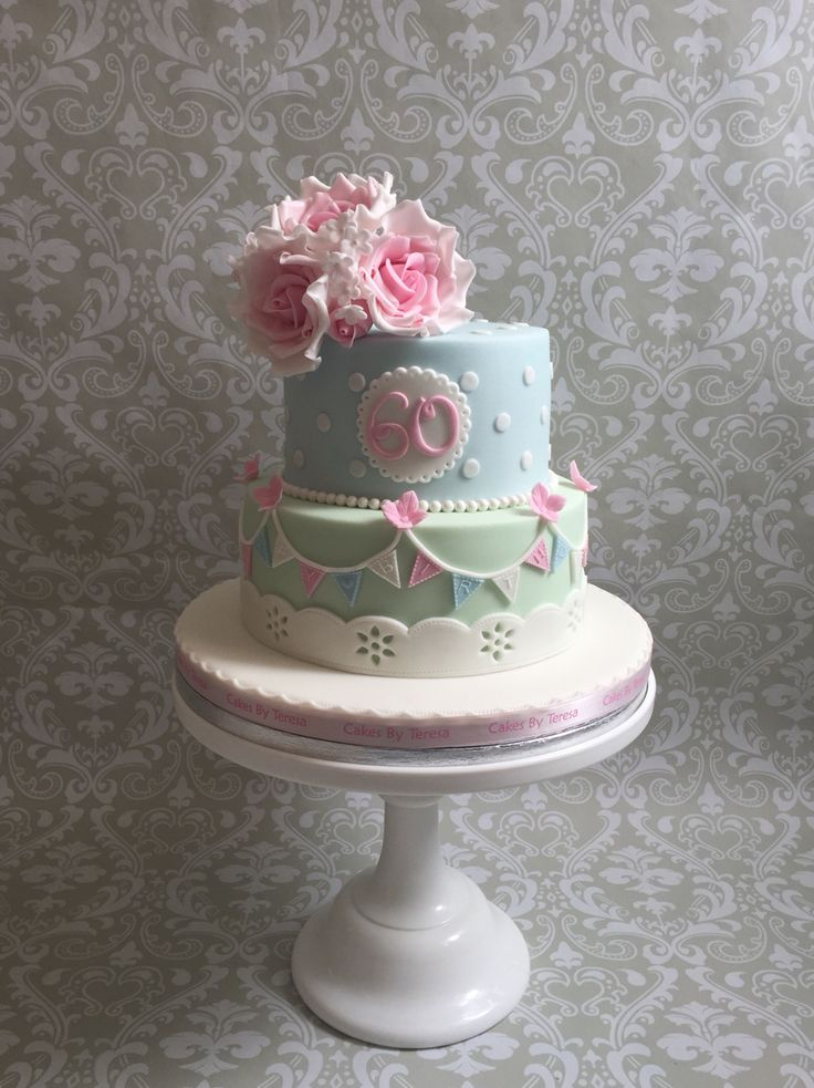 Vintage style cake 60th birthday Pink sugar roses, bunting