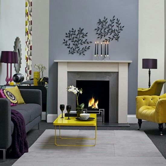Yellow Grey White Colour Pallette Front Room