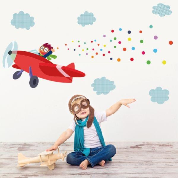 Vinilo infantil Avión con confeti