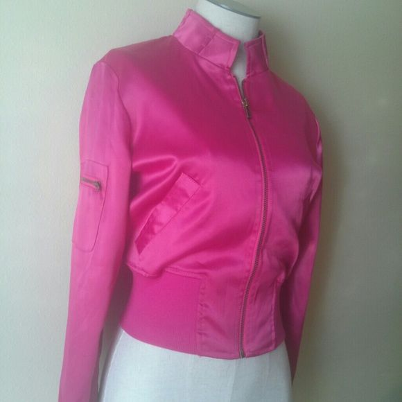 Piper & Blue Hot Pink Satin Bomber Jacket Really fun and chic jacket, super soft to the touch. Some pulling and stray threads near the shoulder and cuff, please see photos. Clean and stain free!   98% polyester, 2% spandex. Size small.   No trades or PayPal please! Piper & Blue Jackets & Coats