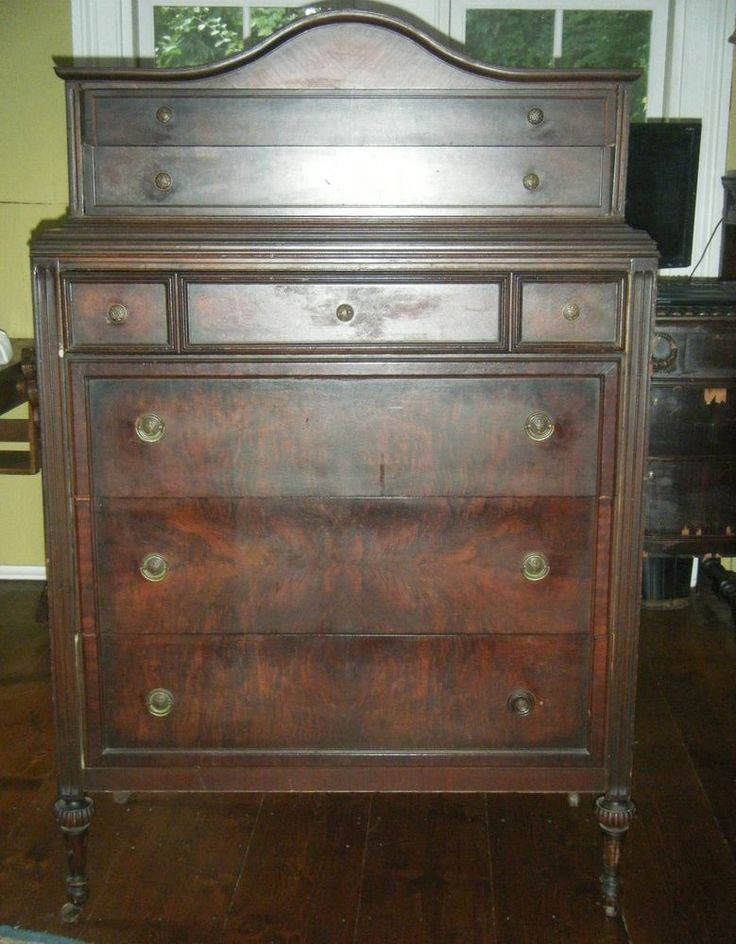 antique dark wood chest of drawers 1
