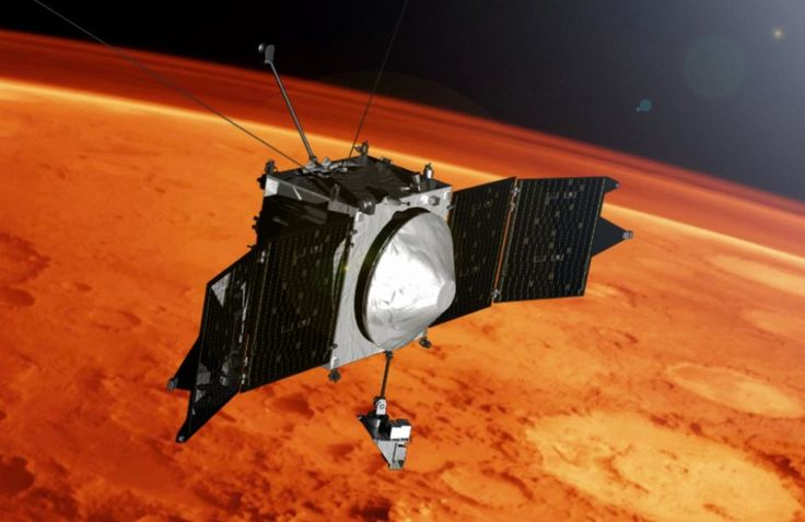 Illustration of MAVEN spacecraft at Mars. Credit: NASA's Goddard Space Flight Center  Mars has electrically charged metal atoms (ions) high in its atmosphere, according to new results from NASA's MAVEN spacecraft.
