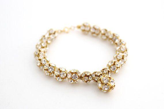 Gold Bridal Rhinestone Bracelet Wedding Jewelry Glamorous Bridesmaid Bracelet Old Hollywood Glamour Wedding Luxury Prom Jewellery Victorian