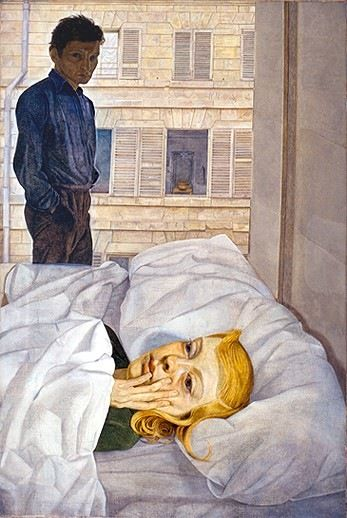Lucian Freud (England 1922- 2011), Hotel Bedroom, o/c, 1954. This double portrait of Freud and his second wife Caroline Blackwood was seen as shocking, violent and cruel. Caroline wrote later she 'was dismayed ... why he needed to paint a girl, who at that point still looked childish, as so distressingly old'. This work was one of the last Freud painted in his earlier style. It was shown at the 1954 Venice Biennale. Collection Beaverbrook Art Gallery, Fredericton, Canada, on loan to the…