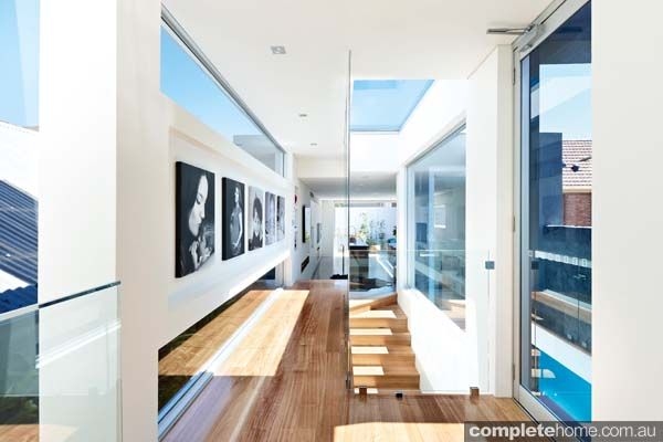 Grand designs annandale house -interior - great screening in urban environment. With shutters and no roof for balcony.