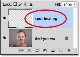 Renaming the new layer 'spot healing'. Image © 2013 Photoshop Essentials.com