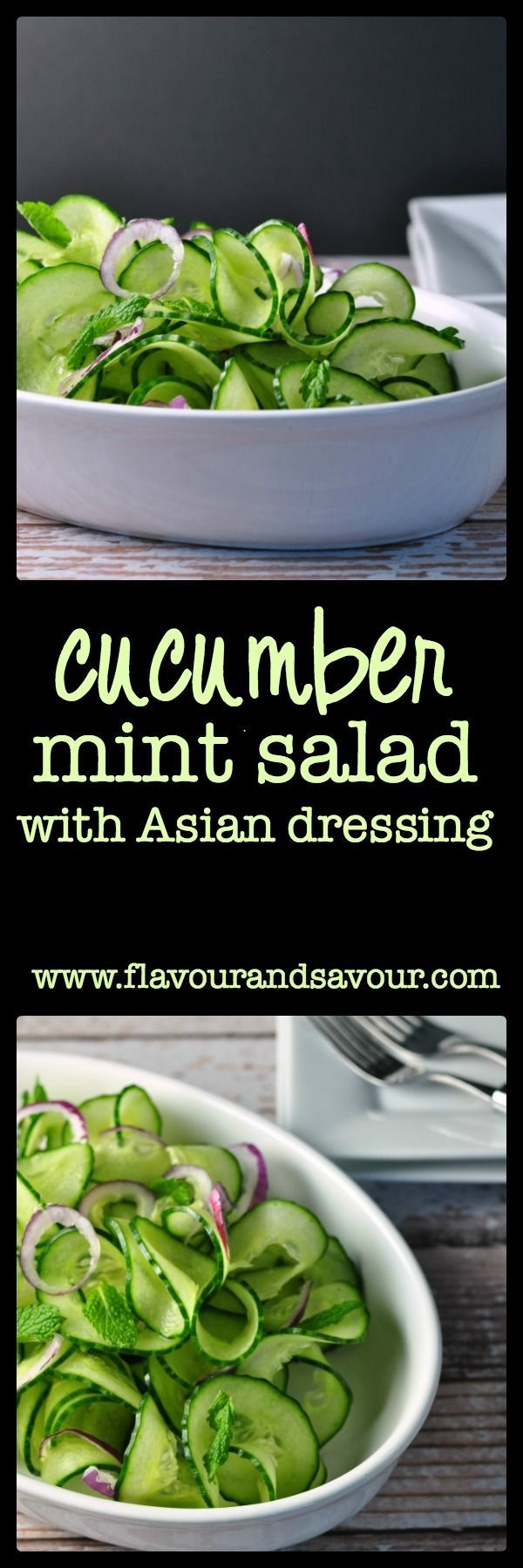 Sweet red onions and a flavourful Thai dressing turn plain cucumbers into something fancy. This Cucumber Mint Salad is ready in less than 10 minutes!