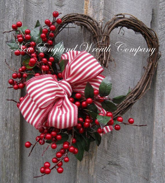 Valentine grapevine and berry wreath on Esty by New England Wreath Company. ( http://www.etsy.com/shop/NewEnglandWreath?ref=l2-shopheader-name ) Full link: http://www.etsy.com/listing/175329255/valentine-wreath-heart-wreath-designer?ref=listing-shop-header-3