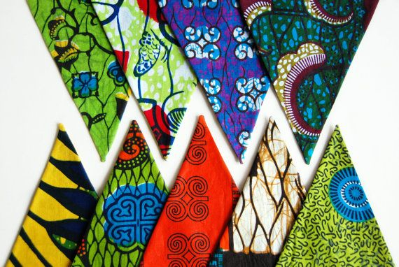 Fabric Bunting Colorful Bunting Flags African Fabric by StudioMI2