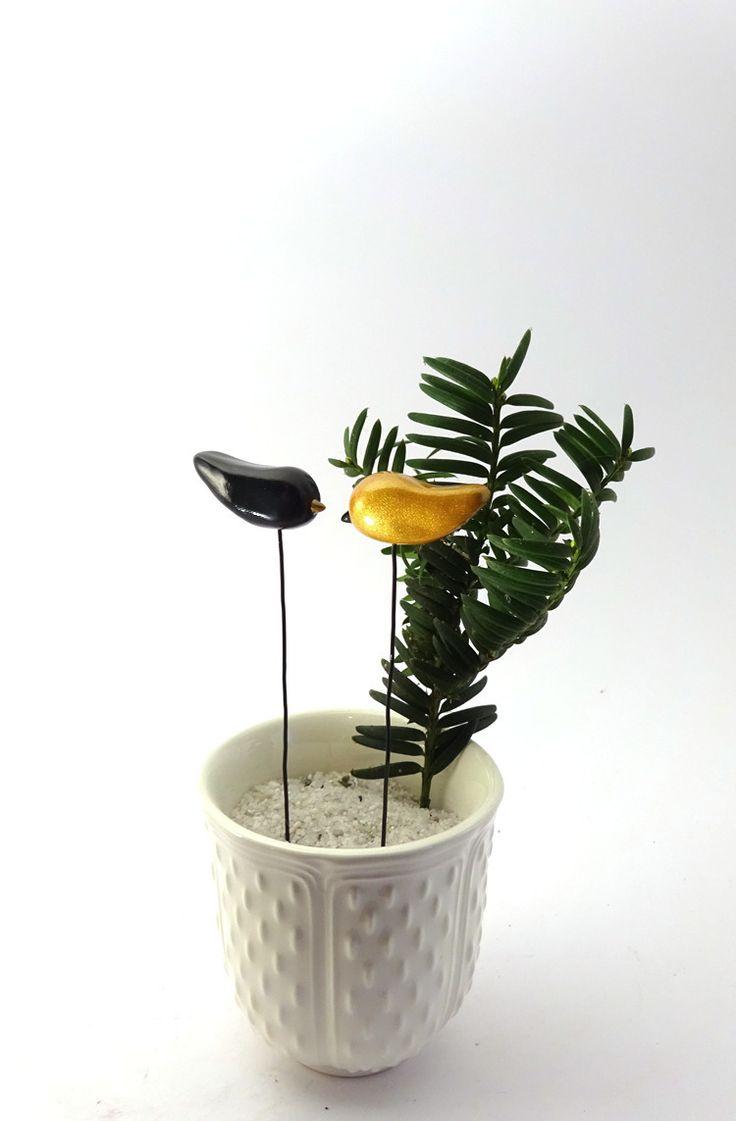 2 Pics oiseaux Noël, doré et noir - brillant