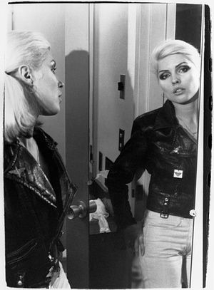 'Debbie in a vintage motorcycle jacket, c1976'. Debbie Harry Blondie Chris Stein