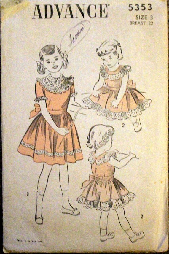 1940s Advance #5353 sewing pattern - Girl\'s size 3 - dress with ...
