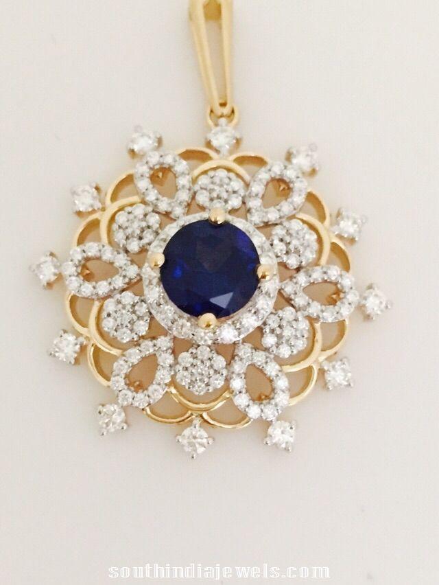 Diamond Sapphire Pendant Design ~ South India Jewels