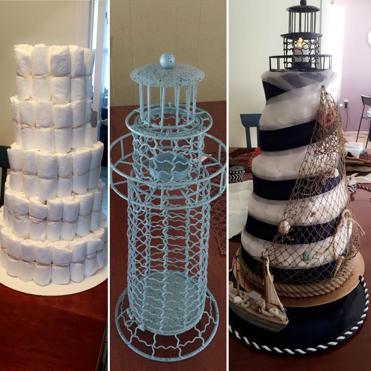 Lighthouse diaper cake with flicker candle on top