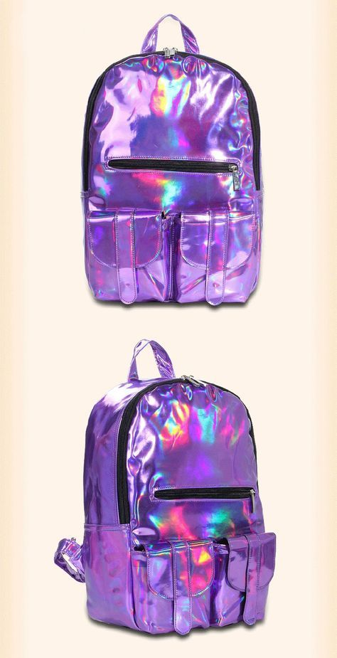 "Holographic heaven!! We love holgraphic anything and these stylish backpacks are totally on our ""We need it now!"" list! Color:silver,gold,purple main material:PU Pattern type:laser size:44cm*28cm*16cm ..."