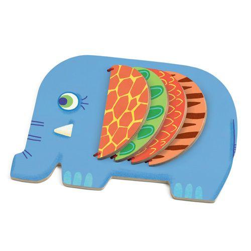 "Djeco βρεφικό ξύλινο βιβλίο ""ελεφαντάκι"""
