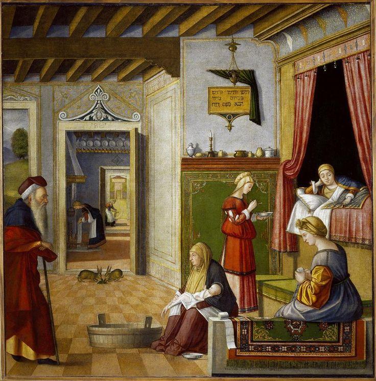 De geboorte van Maria ~ Uit de cyclus Het leven van de heilige Maagd (de Cyclus Albanesi) ~ 1504-1508 ~ Olieverf op doek ~ 128 x 137 cm. ~ Accademia Carrara, Bergamo