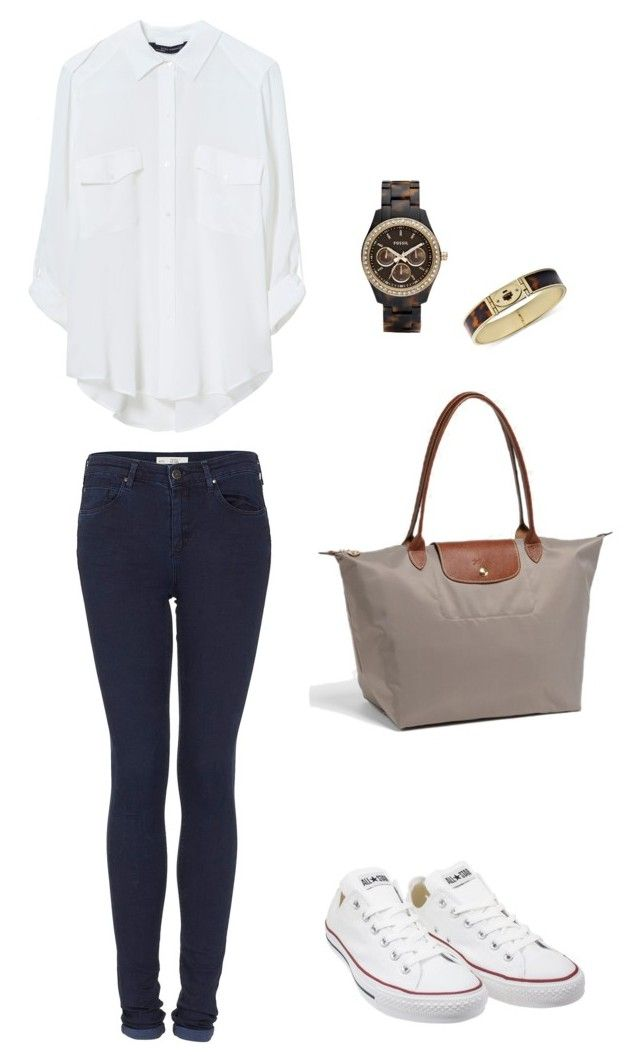 Eleanor Inspired Outfit with a beige longchamp by inspiredbyeleanorcalder on Polyvore featuring polyvore, fashion, style, Zara, Topshop, Converse, Longchamp, FOSSIL and clothing