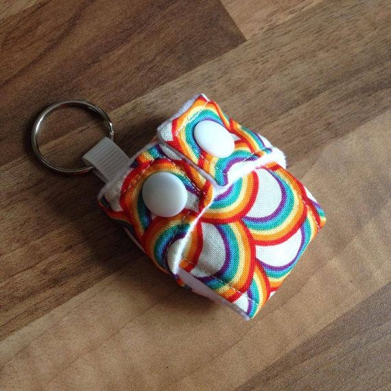 Cloth Diaper Cloth Nappy Mini Keychain Keyring Riley Blake Rainbow £3