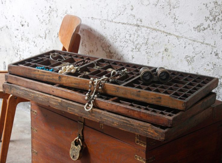 Authentic, original vintage wooden printers tray letterpress drawers have finally arrived. These curio organisers and display cases are loved by DIY'ers or those who like to upcycle or repurpose furniture. #vintage #furniture #printingtray #homedecor #homestyle #sale