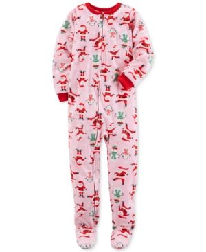 Carter's 1-Pc. Santa-Print Footed Pajamas, Little Girls (4-6X) & Big Girls (7-16) - Santa 7