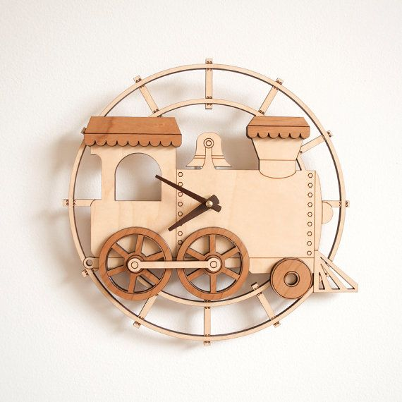 Wooden Train Clock Kids Nursery Train Room by graphicspaceswood